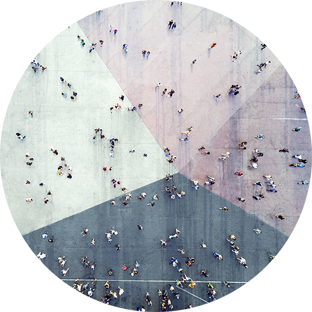 High angle view of people walking on the street.
