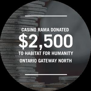 Casino Rama donated $2,500 to Habitat for Humanity Ontario Gateway North