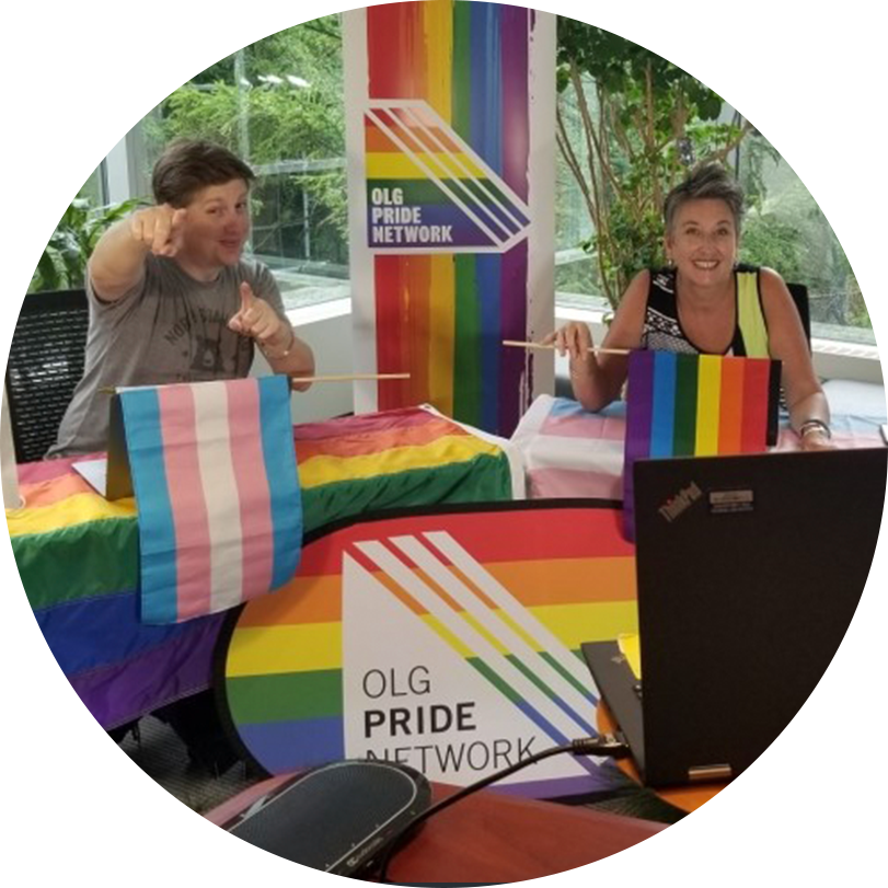Two OLG employees celebrating Pride through the OLG Pride Network.