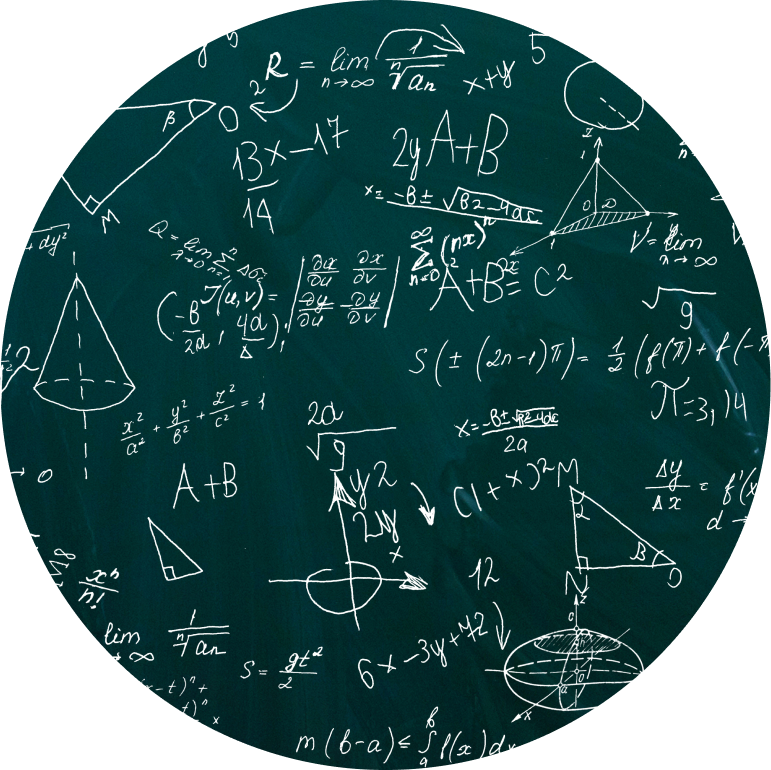 Plusieurs équations mathématiques sont écrites sur un tableau.